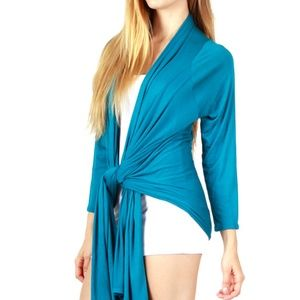 Teal Boho Blue Long Sleeve Hi-Lo Cardigan Sweater